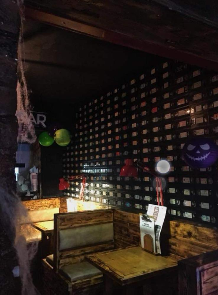 The Video Tape Wall on Halloween Night