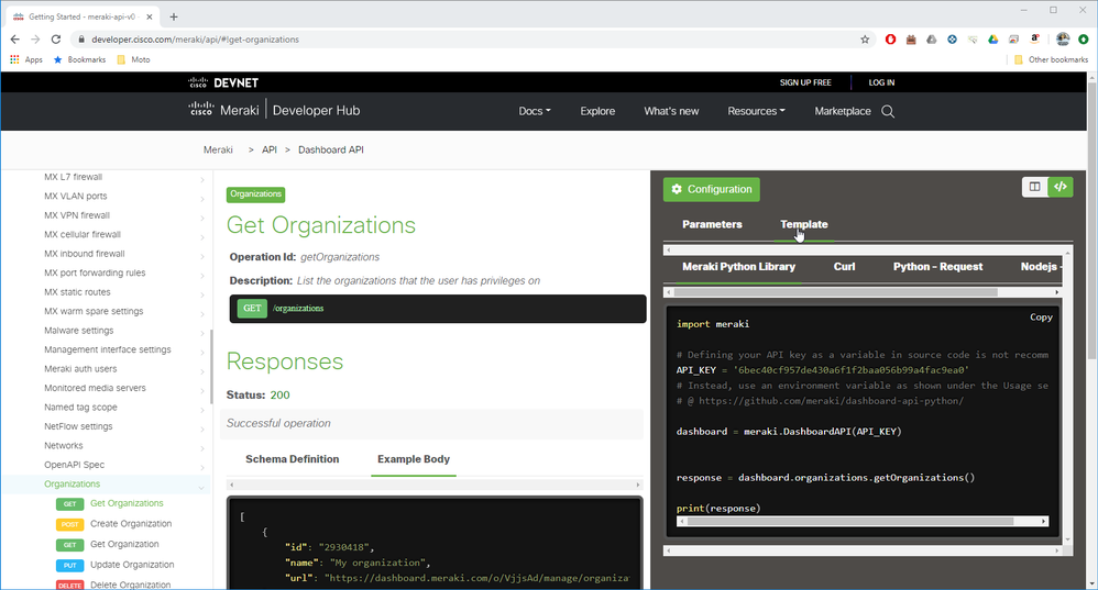 To get started with the code have a look at http://meraki.io/api. Every endpoint has an example which you can use as a template.