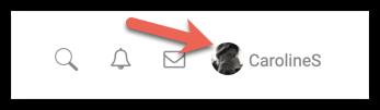 User avatar in the header