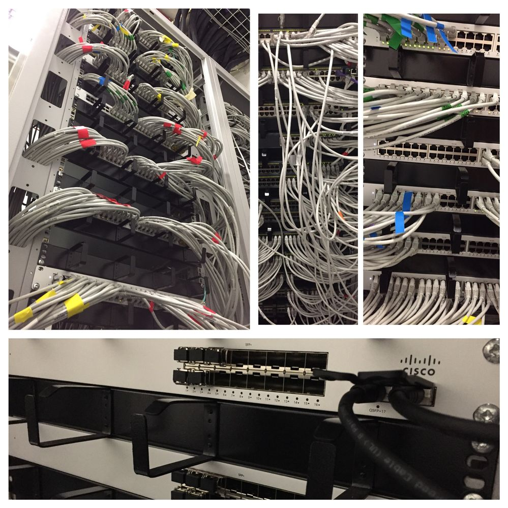Some before and after shots.  Big tidy up across 6 hub rooms.  100+ switches replaced with Meraki