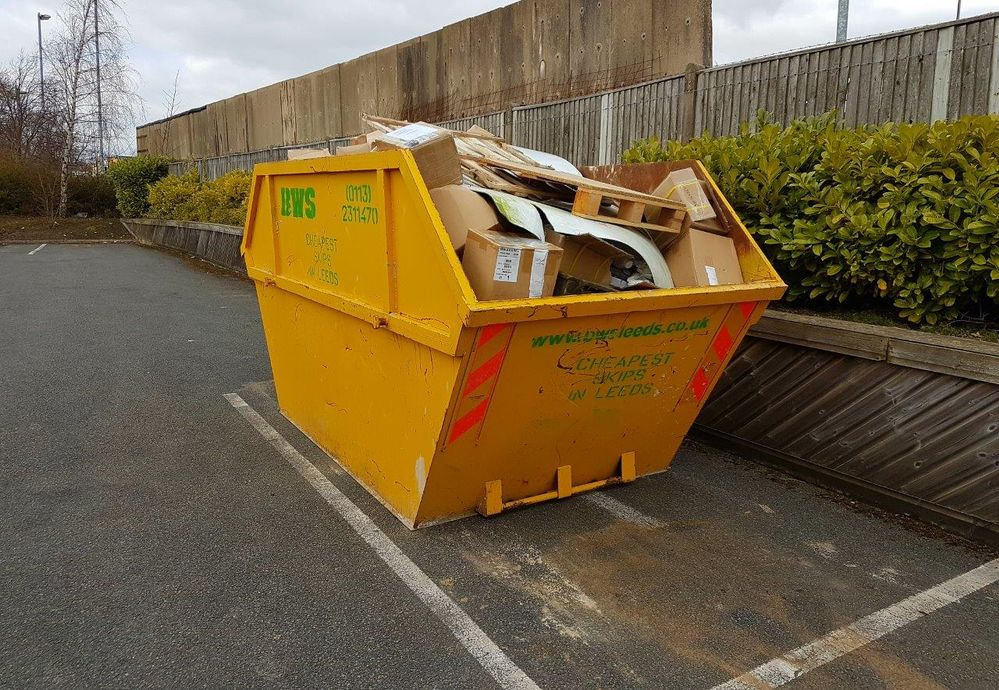 Our skip full of garbage ready to collect