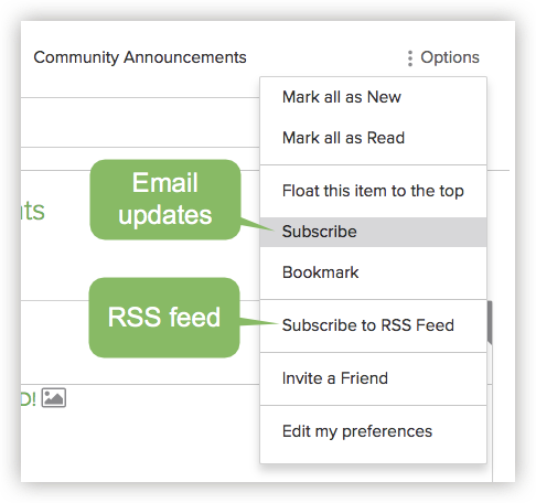Subscribe to the Community Announcements blog