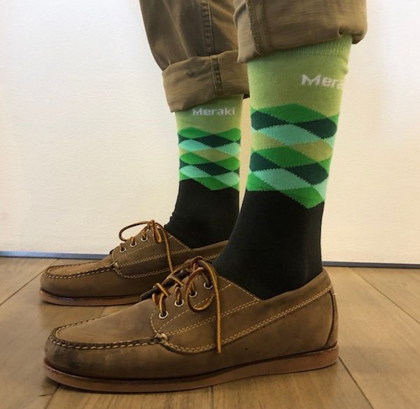 Meraki Green Argyle Socks