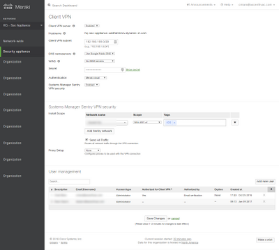 Client Config from Dashboard