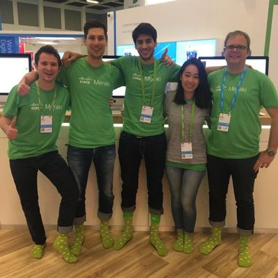 Meraki cloud socks modeled by members of our field marketing team