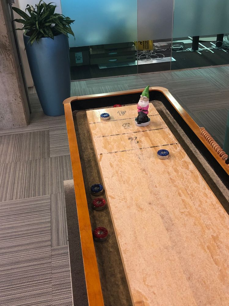 Situated with shuffleboard