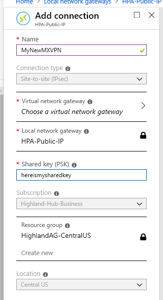 Azure Add Connection