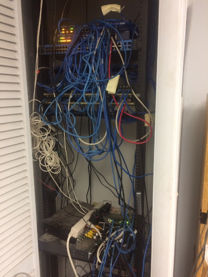 Wiring closet before