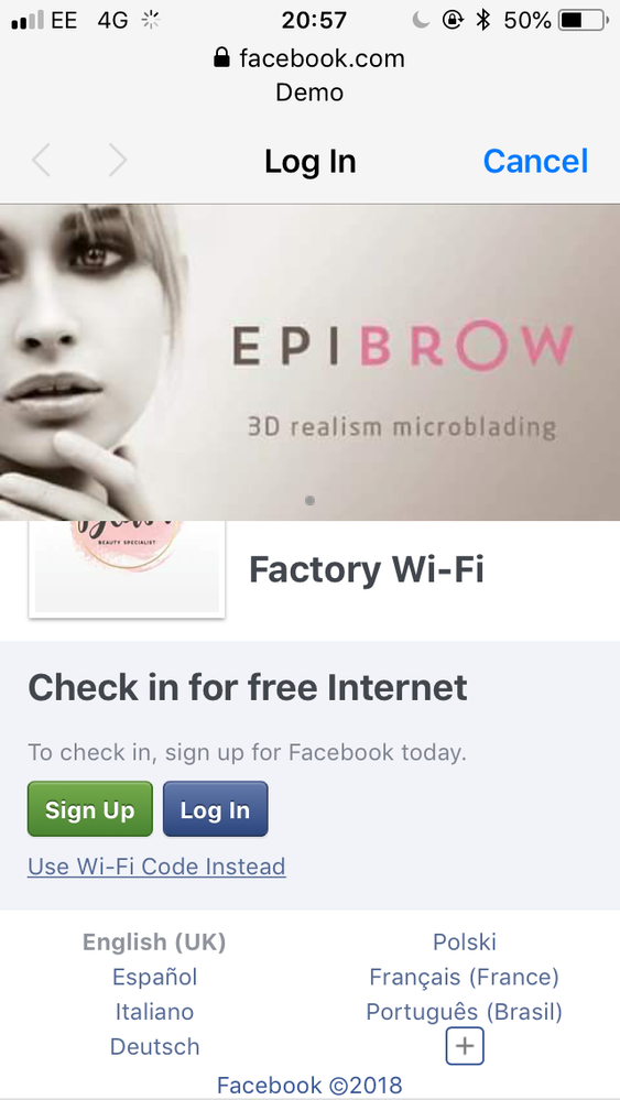 Facebook Wi-Fi splash images overlapping on mobile devices