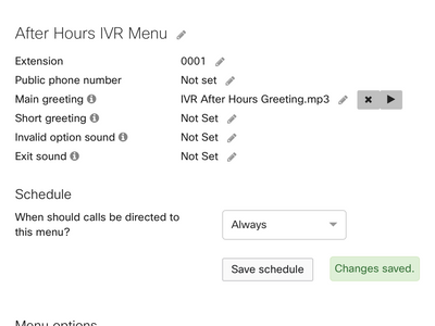 After-Hours IVR Menu settings