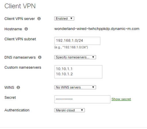 Client VPN Configuration - Meraki Dashboard.png