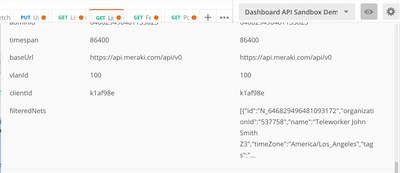 Postman : filter the output of a GET request - The Meraki Community