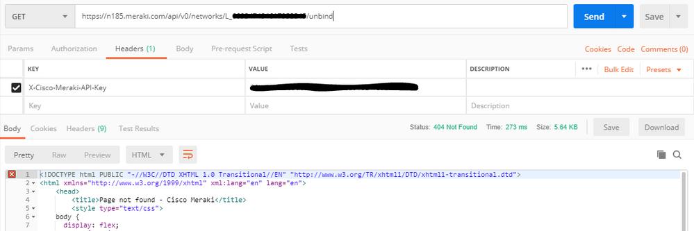 postman - unbind api call - http 404.PNG