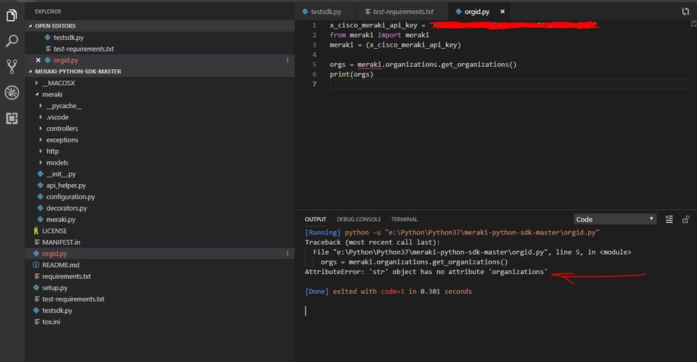 Solved: Python API errors - The Meraki Community